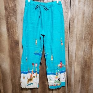 100% Linen Drawstring Pants Unique Print Teal XL